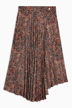 Embrace a look that will always be on-trend with this brown all over animal print pleated midi skirt. Floral Pleated Skirt, Gray Skirt, Silk T Shirt, Skirt Images, Size 6 Women, Plain Tees, Brown Brown, Topshop, Skirts
