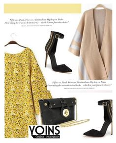 """Yellow Dress with Yoins"" by antemore-765 ❤ liked on Polyvore featuring Bebe, H&M and dress"