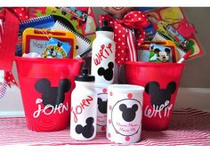 In the vein of the road trip baskets I put together for the drive to Rosemary Beach back in July, I've been collecting inexpensive Disney themed items for the even longer haul down to Orlando…