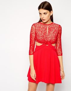 Three Floor Coverstar Lace Dress With Cut Out Details