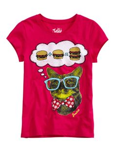 Justice Clothes for Girls Outlet | ... girls-clothing/tees_animals/photoreal-cat-burger-tee/7975745?clearance