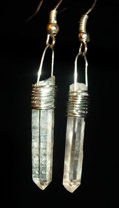 Quartz Crystal Earrings, beautiful hand made wire wrapped crystals. by JewelsOTE on Etsy