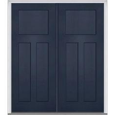 Milliken Millwork 74 in. x 81.75 in. 3 Panel Shaker Painted Fiberglass Smooth Exterior Double Door, Naval