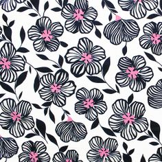 """♥Navy Blue Pink Pop White Hibiscus Floral Cotton Jersey Knit Fabric - Love this gorgeous floral print!  True medium weight cotton jersey knit in white with a navy blue hibiscus floral outline and a pop of light pink in the center.  Fabric is mid weight with a minimal stretch.  Flowers measure 4 1/2"""".  ::  $6.50"""