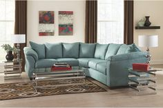 Darcy - Sky Sectional Living Room Set by Signature Design in Living Room Sets. With the exciting contemporary style of the sweeping padded arms and plush pillow back design, the sleek beauty of the Darcy - Sky Sectional Living Room Set by Signature Design Sectional Living Room Sets, Corner Sectional, Cheap Living Room Sets, Comfortable Living Rooms, Sofa Furniture, Living Room Furniture, Living Room Decor, Furniture Stores, Furniture Ideas