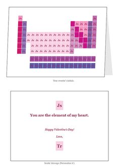 Looking for the chemistry of love get the valentines day periodic periodic table initials valentines day greeting card urtaz Images