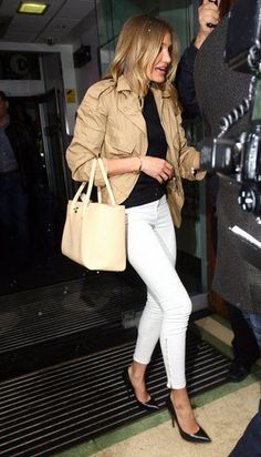White Jeans Outfit .. Love the @Chanel cerf tote in beige!