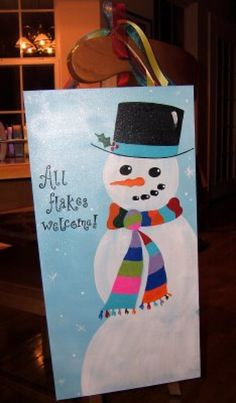 Custom Snowman Winter Christmas Canvas Sign. $40.00, via Etsy.