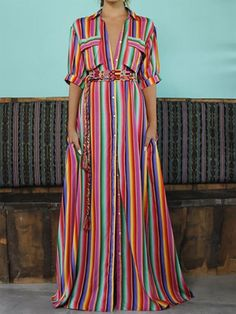A-line Daytime Short Sleeve Boho Pockets Stripes Maxi Dresses