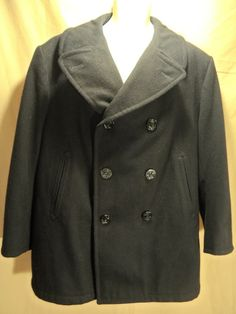 VINTAGE Men's Black Navy Military Pea Coat WHALING MFG-Large/44 Short VERY NICE