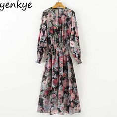 Promo $16.17, Buy Vintage Women Floral Printed Midi Dress Long Sleeve Elastic Waist 2pcs Chiffon Casual Dresses Autumn vestidos XDWM797