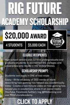 Gear Up for elite gaming and academic performance. RIG Gaming's $20,000 Future Academy scholarship is open. Elite Game, Scholarships For College, High School Seniors, Essay Writing, Rigs, University, How To Apply, Student, Social Media