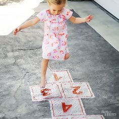 Save your bubble wrap and get hopping! Kids (and adults!) will love popping the bubbles and playing outside. Cut bubble wrap into nine rectangles. Use a permanent marker to give each a number from 1 to 9.
