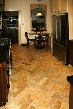 Image detail for -Floor Tile - Tile St. Louis - Herringbone Travertine Kitchen Tile ...