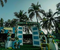 Pretty blue and yellow decor with a rustic chic white door and greens at Novotel Goa   Intimate Wedding Planning For Indian Weddings to Keep Your Sanity Intact & Yet Have a FAB Wedding During This Pandemic - Witty Vows Indian Mehendi, Good Times Roll, Digital Invitations, Indian Weddings, Intimate Weddings, Rustic Chic, Goa, Hotels And Resorts, Photo Booth