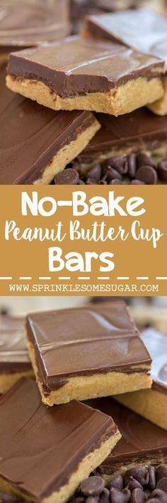 These No-Bake Peanut Butter Bars are the easiest treat to make and taste just like a peanut butter cup! Perfect for a last minute dessert or if it's too hot out to turn on the oven.
