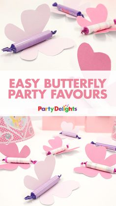 Throwing a Fairy Party? Or looking for some easy DIY party favours? Have a go at making these cute butterfly party favours with Party Delight's free printables and a small roll of sweets like parma violets. They'd go down a treat as kids' party favours! Butterfly Party Favors, Butterfly Birthday Party, Fairy Birthday Party, Kid Party Favors, 1st Birthday Parties, Girl Birthday, Wedding Favors, Craft Party, Birthday Crowns