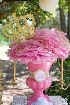 """Photo 16 of Princess / Birthday """"Royal Pink & Gold Birthday Bash"""" Disney Princess Birthday Party, Princess Tea Party, 1st Birthday Parties, Girl Birthday, Birthday Ideas, Royal Princess, Pink Gold Birthday, Golden Birthday, Royal Party"""