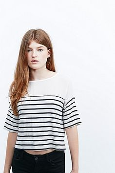 BDG Chiffon and Stripe Mix Top in Ivory and Navy - Urban Outfitters