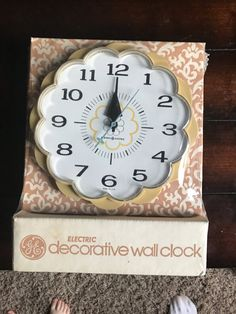 Vintage General Electric Yellow Plastic Flower Clock - New in Original Packaging, Never Used. Model 2150