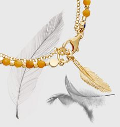 Follow Your Dreams with our feather and yellow jade bracelet. Used in ancient Egypt and China the feather is believed to attract good fortune and friendship
