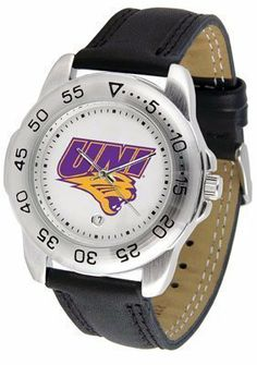 Northern Iowa Panthers Suntime Mens Sports Watch w/ Leather Band - NCAA College Athletics by SunTime. $41.95. A true sports person's watch, the Sport features: a durable rotating timer/bezel, stainless steel finish, scratch resistant crystal, quartz accurate movement, color coordinated leather strap, date function and a big, bold California State (Northridge) Matadors team logo on the dial. Wear it to a game, while watching a game or just to show off your NCAA pride wherever you go!