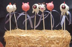 Farm animal cakepops as favors