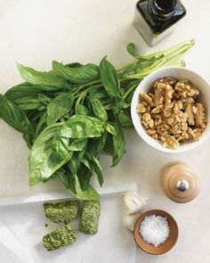 Basic basil pesto; freeze in ice trays and keep for future use! (But UP the garlic; Martha's being too stingy)