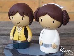 Cute STAR WARS Wedding Cake Topper  - Princess Leia and Han Solo