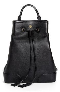 "Free shipping and returns on Tory Burch 'Frances' Leather Backpack at Nordstrom.com. <p><B STYLE=""COLOR:#990000"">Pre-order this style today! Add to Shopping Bag to view approximate ship date. You'll be charged only when your item ships.</b></p><br>An understated logo medallion stands out against the rich, glazed leather of a downtown backpack cinched with tasseled drawstrings and topped with a rolled carry handle. The adjustable backpack straps can be clipped to one side, creating a chic ..."