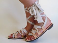 Customizable Lace up sandals Ribbon Strap by GreekChicHandmades
