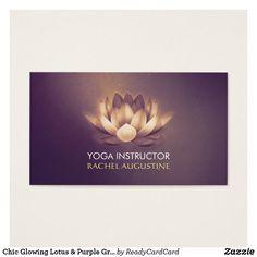 Chic Glowing Lotus & Purple Grunge Yoga Instructor