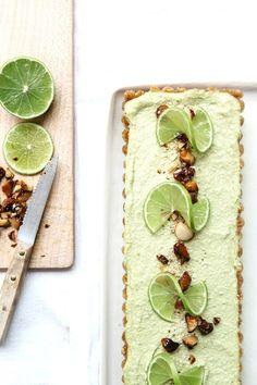 Raw avocado lime tart with candied macadamia recipe #vegan