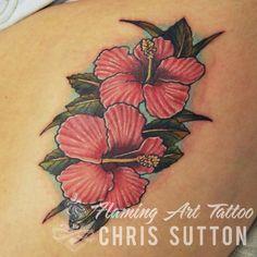 #flower #hibiscus #Hawaiian #hawaiianflower #newschool #colour #tattoo #tattoos #custom #design #art #artist #tattooartist #illustration #london #england #chrissutton