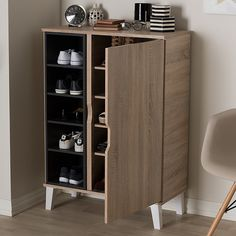 Wood Storage Cabinets, Tall Cabinet Storage, Entryway Storage, Grey Wood, Brown Wood, Baxton Studio, Shoe Cabinet, Open Shelving, Shelves