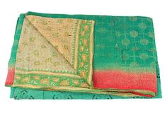 Hand-Stitched Kantha Throw, Tara , on OneKingsLane.com  vintage cotton fabric from India