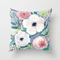 White Anemone Floral Throw Pillow