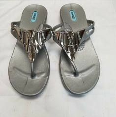 4d4f7a50b20e7e OKA B T-STRAP SILVER JEWELED SANDALS SZ MED (7 8)  fashion  clothing  shoes   accessories  womensshoes  sandals (ebay link)