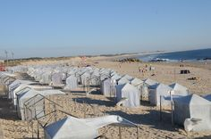 Apulia, Portugal - you can rent a tent for the day and get protection from the wind and sun.