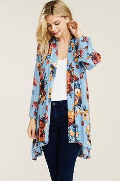 Dusty blue, yoryu gauze, lightweight, flowing open kimono (s) (m) (L) Kimono Cardigan, Kimono Top, Dusty Blue, Tops, Women, Fashion, Moda, Fashion Styles, Fashion Illustrations