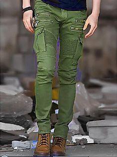 Hombre Punk   Gótico   Militar Algodón Delgado Pantalones de Deporte    Pantalones tipo cargo Pantalones - Un Color   Deportes 84e65b7ea72f