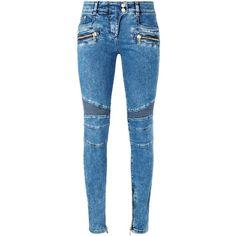 Balmain Skinny Biker Zip Jeans Blue | Harrods ($945) ❤ liked on Polyvore featuring jeans, pants, super skinny jeans, skinny jeans, balmain, skinny fit jeans and blue jeans
