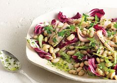 """White Bean and Tuna Salad with Radicchio and Parsley Vinaigrette - """"perfect for a weekend lunch or a quick weeknight dinner"""""""