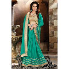 Saree en ligne shopping, art Turquoise en soie saree pour diwali, chemisier encolure u