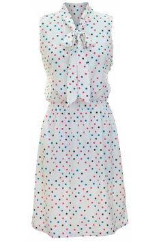 White Dress With Multicolor Polka Dots & Tie Collar