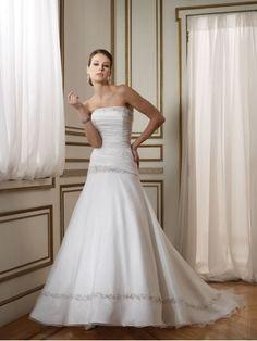 Taffeta Hand-Beaded Embroidery Neckline Ruching Bodice A-line Wedding Dress