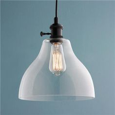 Large Clear Glass Bell Pendant Light