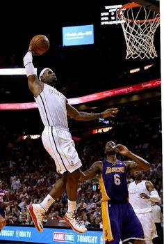 FEBRUARY 10: LeBron James #6 of the Miami Heat dunks