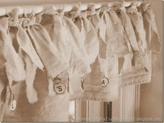 How to: Easy Drop Cloth Window Valance o something similar. Over the top of 3 windows! Burlap Curtains, Drapes Curtains, Drop Cloth Projects, Types Of Window Treatments, Shabby Chic Kitchen, Burlap Kitchen, Kitchen Valances, Beach Cottage Decor, Window Coverings