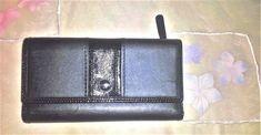 Coach Wallet Trifold Black Satin & Patent Leather Trim Trademark Button Logo #Coach #Trifold